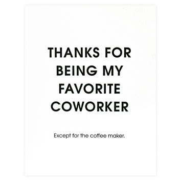 Favorite Coworker Coffee Maker Thank You Card