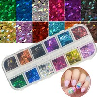 1 Set 3D Thin Sequin for Nail Glitter Polish Eye Horse Designs Colorful Sparkle Sheet Tips Manicure 12 Color DIY Flakes CHMB