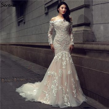 Boat Neck Lace Flowers Mermaid Wedding Dress Long Sleeves Sexy Slim Bridal Gown Robe De Mariage 2018 Serene Hill