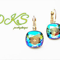 New, Erinite Shimmer, 12MM Swarovski Square Earrings, Drops, Dangles, Invisible Setting, Gold, DKSJewelrydesigns, FREE SHIPPING