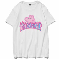 THRASHER 2018 couple models men and women fashion pig page t shirt adult short sleeve White
