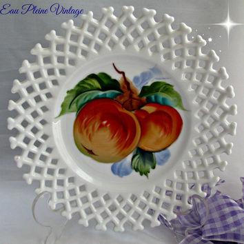 Leftons Hand Painted Fine English Bone China Japan Fruit Apples Home Decor Lattice