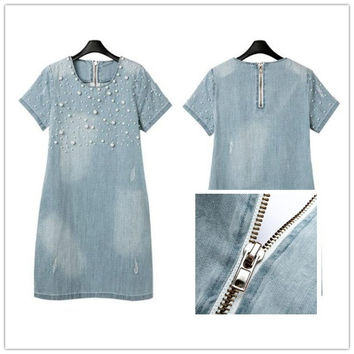 Hot Style Women Jean Loose Short-Sleeve Beaded Washed Denim Dresses Sexy Dress light blue = 1930345092
