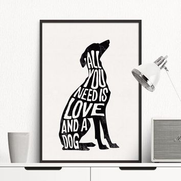 Nordic Canvas Painting Black White Dog Abstract Poster Wall Art Print Picture Love Letter Living Room Home Decoration Painting