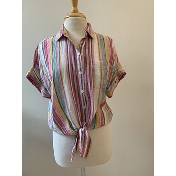 Beach Front Lounge Striped Tie Front Blouse