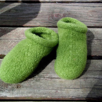 Felt Clog Slippers Green