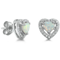.925 Sterling Silver Heart White Opal Fire Ladies Stud Earrings with Simulated Diamond Accents