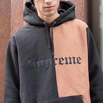 """Supreme"" Contrast Color Couple Embroidery Casual Letter Print Velvet Long Sleeve hooded Pullover Sweatshirt Top Sweater hoodie Black Pink I-YQ-ZLHJ"