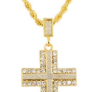 Goldtone Sandblast Iced Out Cross