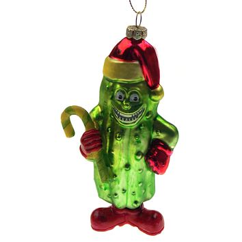 Accoutrements Santa Christmas Pickle Tree Ornament Novelty Fun Gag Gift Glass