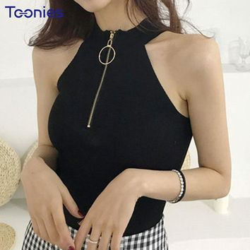 Spring Fashion Camis Women Turtleneck Sleeveless Strapless Zipper Sexy Crop Tops 2018 New Design Summer Tanks Black Tank Tops