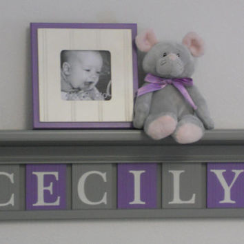 "Baby Name Sign, Purple Gray Name Blocks, Custom Letters 24"" Grey Shelf - 6 Wooden Letter Plaques Personalized - CECILY - Unique Baby Gifts"