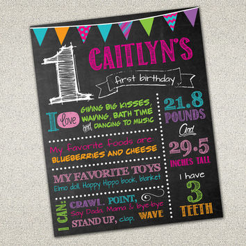 Custom Chalkboard Printable Birthday Sign - Girl Birthday Poster - Birthday Sign - Digital Print - 16x20