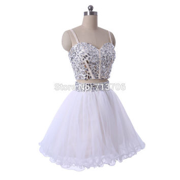 Ball gown Beaded White Tulle Two Piece mini short cocktail Dresses Sexy 2017 Short Party Prom Gowns Real Images