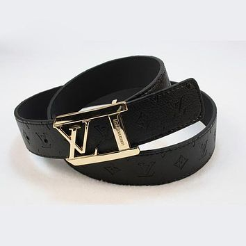 LV Men Fashion Smooth Buckle Belt Leather Belt Tagre™
