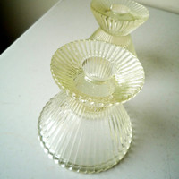 Midcentury Glass Candle Holders, Multi Size Glass Candle Holders, SALE