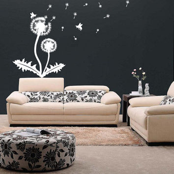 Vinyl Wall Decal Beautiful Dandelion Flower, Leafes & Honey Bees / Nature Art Decor Home Sticker / Removable Mural + Free Random Decal Gift