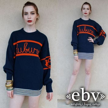 Vintage Auburn Sweater Vintage Auburn Navy and Orange Wool Sweater S M L