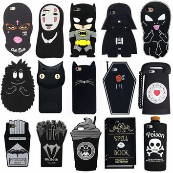 Black Dark Cool Face Cartoon Cute 3D Soft Cover Silicone Phone Case for iPhone X 8 6 6S 7 Plus 5 5S SE 5C