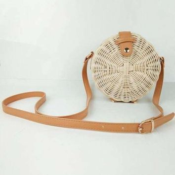 Cross Body Round Straw Bag