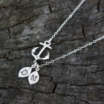 Personalized Anchor Necklace - Mother's Day Gift . Two Initials . Monogram . Gold Sideways Anchor with Initials . Best Friends, Sisters