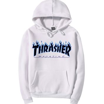 """""""Thrasher""""Quality hooded sweater flame slide hip sweater White"""