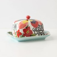 Painted Amaryllis Butter Dish by Anthropologie in Red Motif Size: One Size House & Home