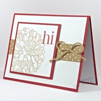 Any Occasion Handcrafted Card Dahlia Flower Hand Stamped Red Brown