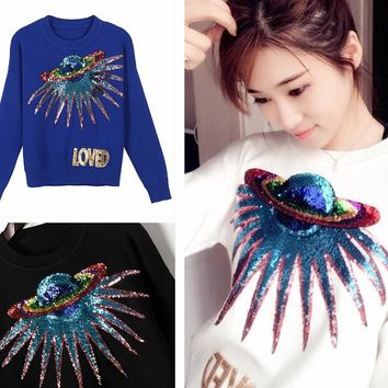 New Unique Dazzling Sequined Planet Embroidery Crewneck Knitting Sweater