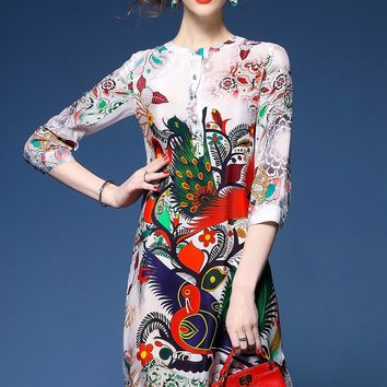 Idelly Summer Dresses women 2017 New thin retro Peacock printing High-grade silk dress half sleeve slim Casual loose dress