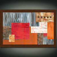 What Lies Beneath- Huge Original Acrylic Abstract Painting, Brown,Red, Grey, Gold and Tan Geometry(Painting No. N023)