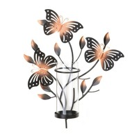 Fluttering Butterfly Wall Sconce Candle Holder