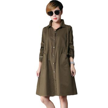 Thin Army Green Trench Coat Women Outwear Fashion 2017Spring Autumn Long Female Coat Leisure Plus Size Trench with Epaulet XH112