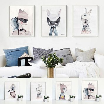 Rabbit Pattern Large Home Wall Decor Abstract Canvas Watercolor Painting