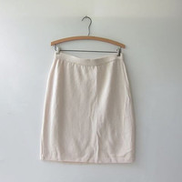 vintage pencil skirt. cream skirt. knee length knit skirt