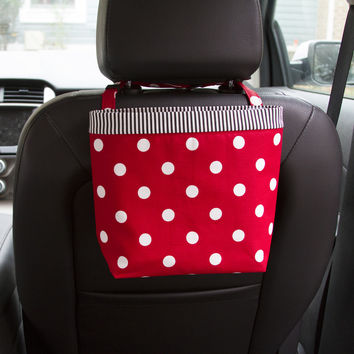 Car Headrest Caddy ~ Red Polka Dots ~ Black Striped Band