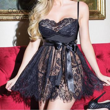 Stunning, Eyelash Lace Babydoll bustier top with large satin shash, g-string included, Also in Plus sizes