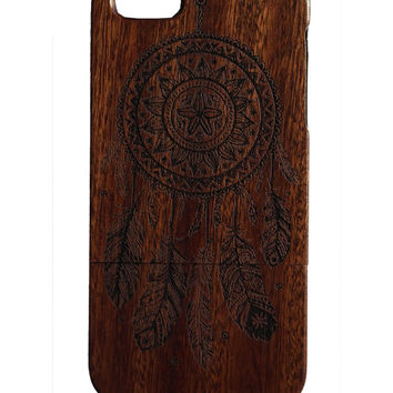 Dream Catcher print Iphone 5 /5s/ 6 wooden engraved bamboo phone case cover