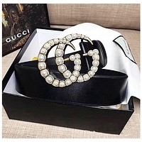 GUCCI Popular Women Pearl Waistband Smooth Buckle Belt Leather Belt Black I/A
