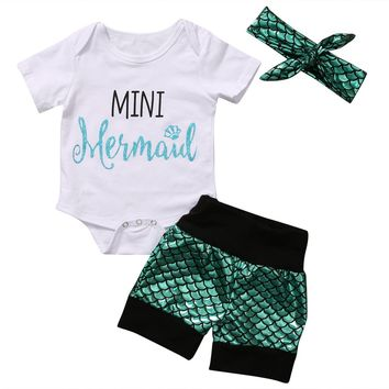 3PCS Mini Mermaid Newborn Baby Girl Clothes 2017 Summer Short Sleeve Cotton Romper Bodysuit+Sea-Maid Bottom Outfit Clothing Set