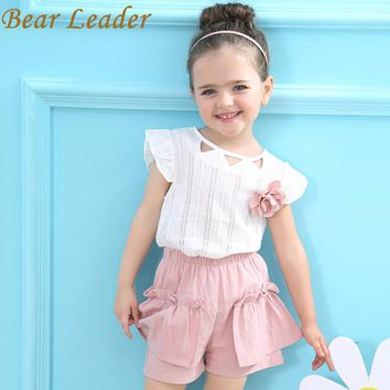 Girls Clothing Sets Girls Suits Summer Sleeveless Appliques T-shirt+Floral Shorts Children Clothing