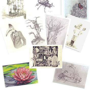 Collection of 10 Artist trading cards- Skull art- floral art- oddities- unsual items