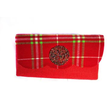 Red Tribal Designer Print Clutch