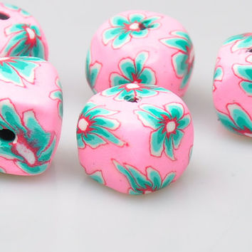 2 Pieces Fimo Beads, Fimo Jewelry Spacers, Jewelry Findings, Beads for Jewelry Design
