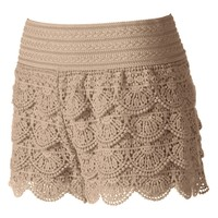 Juniors' Rewind Crochet Shortie Shorts