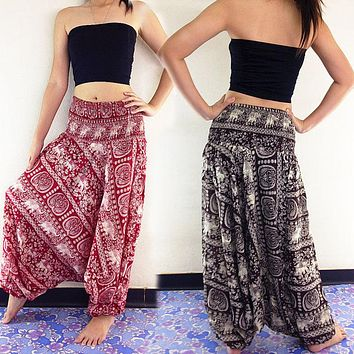 Women New Fashion Ladies Comfy Beach Baggy Boho Wide Leg Pants Hippie Women Harem Pants Trousers