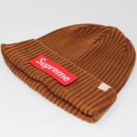 Supreme male and female striped letter knit winter warm street dance skateboard cap Brown