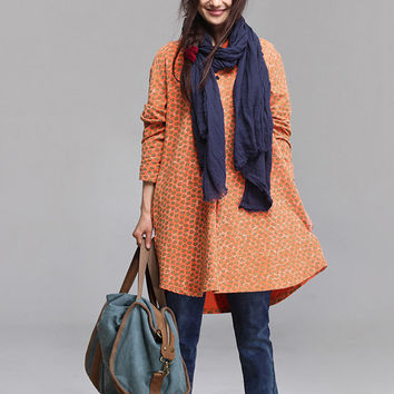 Long-sleeved pullover sweater orange floral / loose collar sweater Autumn Coat