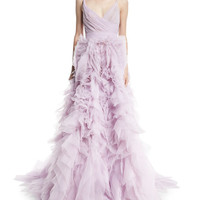 Monique Lhuillier Draped Tulle Ball Gown with Ruffle Skirt, Lilac