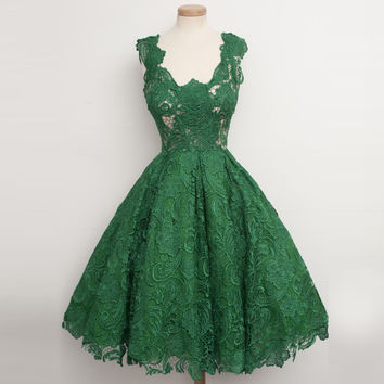 Real Image A-line V-neck Emerald green Lace Overlay Short Mini Dress Cocktail Party Dress 2017